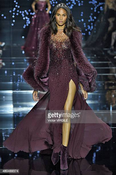 Cindy Bruna walks the runway during the Zuhair Murad show as part of Paris Fashion Week Haute Couture Fall/Winter 2015/2016 on July 9 2015 in Paris...