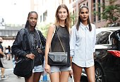 Cindy Bruna with models are seen outside the Cushnie et Ochs show during New York Fashion Week 2016 on September 11 2015 in New York City