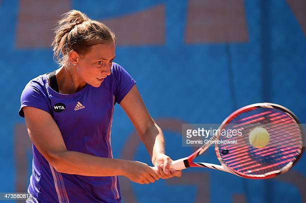 Cindy Burger of Netherlands plays a backhand in her qualifier match against Nicole Gibbs of the United States during Day One of the Nuernberger...