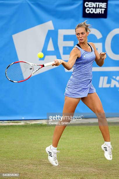 Cindy Burger of Netherlands plays a forehand during the Aegon Ilkley Trophy at Ilkley Lawn Tennis Squash Club on June 16 2016 in Ilkley England
