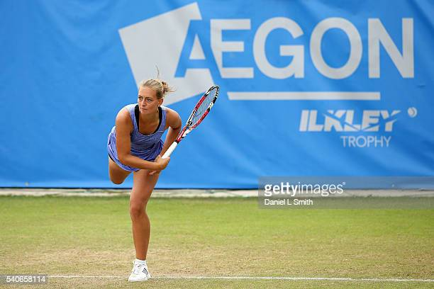 Cindy Burger of Netherlands serves during the Aegon Ilkley Trophy at Ilkley Lawn Tennis Squash Club on June 16 2016 in Ilkley England