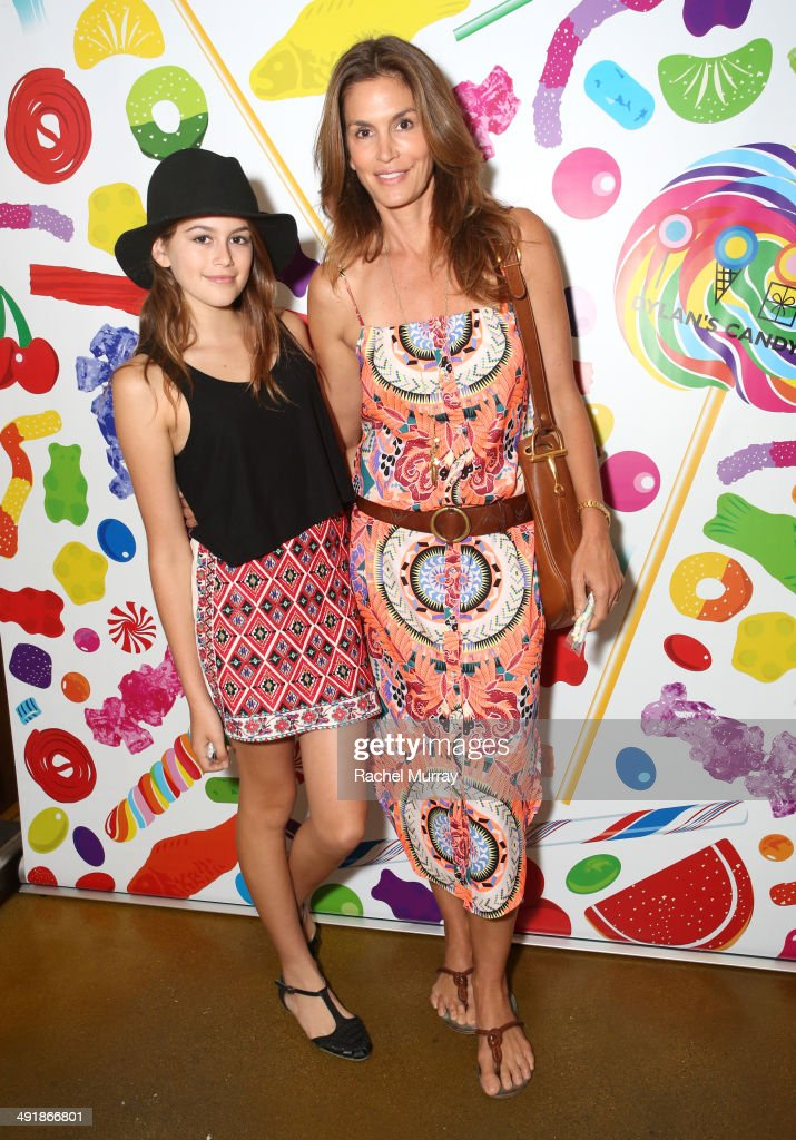 <a gi-track='captionPersonalityLinkClicked' href=/galleries/search?phrase=Cindy+Crawford&family=editorial&specificpeople=202842 ng-click='$event.stopPropagation()'>Cindy Crawford</a> (R) and daughter Kaia Crawford attend Dylan's Candy Bar Candy Girl Collection LA launch event at Dylan's Candy Bar on May 17, 2014 in Los Angeles, California.