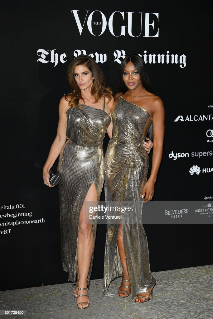 Cindy Crawford and Naomi Campbell attend theVogue Italia 'The New Beginning' Party during Milan Fashion Week Spring/Summer 2018 on September 22, 2017 in Milan, Italy.
