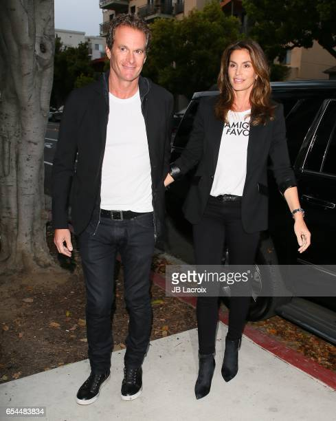 Cindy Crawford and Rande Gerber attend the Umami Burger x Cindy Crawford Artist Series Launch on March 16 2017 in Beverly Hills California