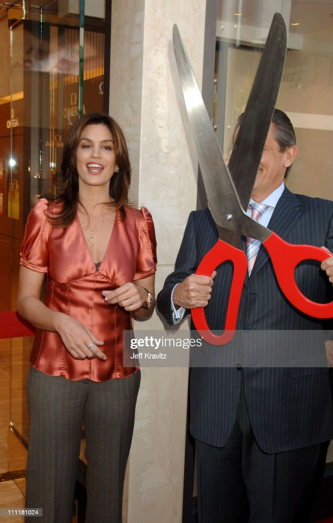 Cindy Crawford and Stephen Urquhart during Omega Watches Welcomes Michelle Wie March 23 2006 at Omega Flagship Boutique in Beverly Hills California...