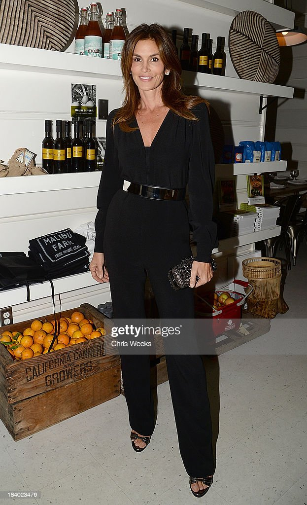Cindy Crawford attends a dinner for Gareth Pugh hosted by Chrome Hearts at Malibu Farm on October 10, 2013 in Malibu, California.