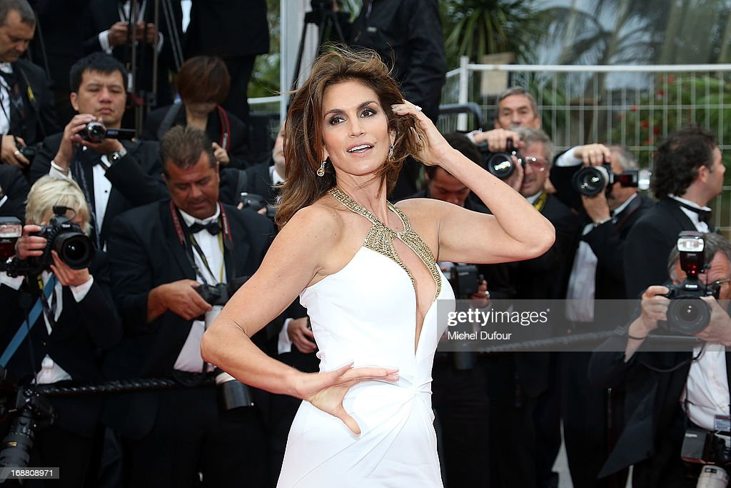 <a gi-track='captionPersonalityLinkClicked' href=/galleries/search?phrase=Cindy+Crawford&family=editorial&specificpeople=202842 ng-click='$event.stopPropagation()'>Cindy Crawford</a> attends the Opening Ceremony and 'The Great Gatsby' Premiere during the 66th Annual Cannes Film Festival on May 15, 2013 in Cannes, France.
