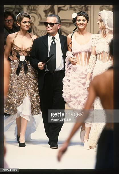 Cindy Crawford Karl Lagerfeld and Helena Christensen walk the runway during the Chanel Haute Couture show as part of Paris Fashion Week Spring/Summer...