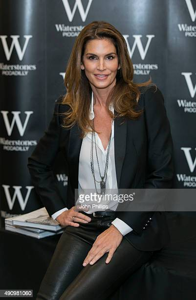 Cindy Crawford meets fans and signs copies of her book 'Becoming' at Waterstones Piccadilly on October 2 2015 in London England