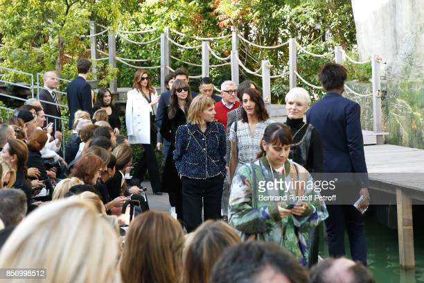 Cindy Crawford Monica Bellucci and Clemence Poesy arrive at the Chanel show as part of the Paris Fashion Week Womenswear Spring/Summer 2018 on...