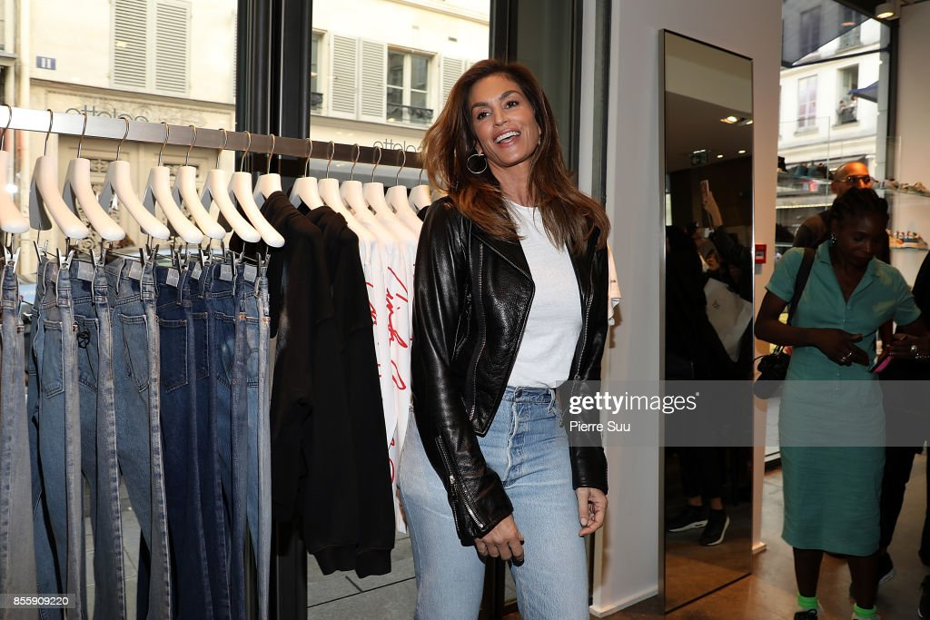Cindy Crawford Presents Re/Done Collection At Colette as part of the Paris Fashion Week Womenswear Spring/Summer 2018 on September 30, 2017 in Paris, France.