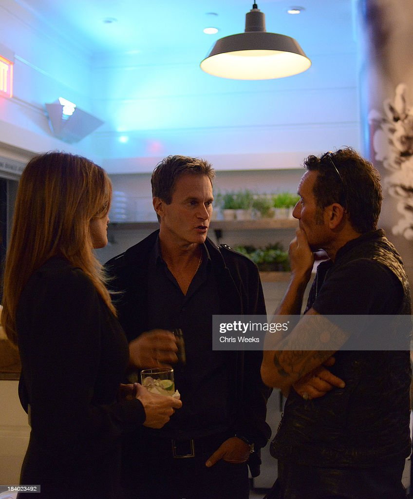 Cindy Crawford, Rande Gerber and Richard Stark attend a dinner for Gareth Pugh hosted by Chrome Hearts at Malibu Farm on October 10, 2013 in Malibu, California.
