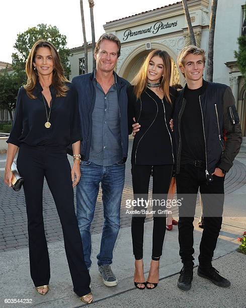 Cindy Crawford Rande Gerber Kaia Gerber and Presley Gerber arrive at the premiere of Lifetime's 'Sister Cities' at Paramount Theatre on August 31...