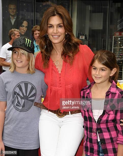 Cindy Crawford with children Presley Walker Gerber and Kaya Jordan Gerber attend the west coast launch of 'Alex's Lemonade Stand' on June 12 2010 in...