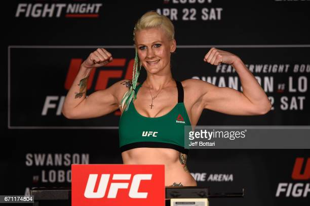 Cindy Dandois of Belgium poses on the scale during the UFC Fight Night weighin at the Sheraton Music City Hotel on April 21 2017 in Nashville...