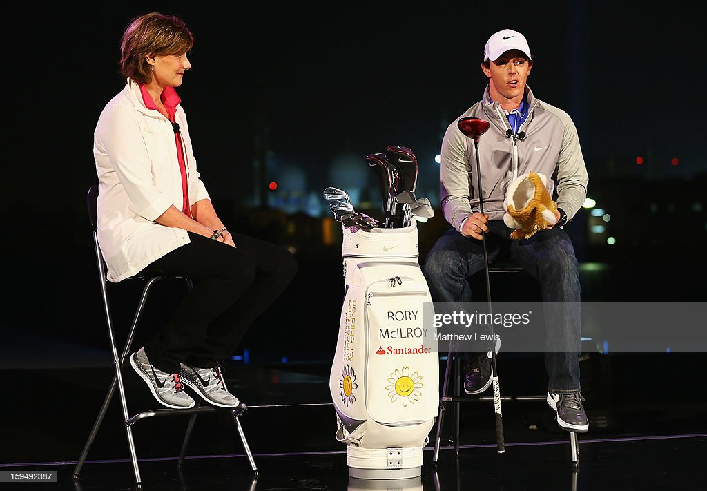 Cindy Davis, Nike Golf President unveils <a gi-track='captionPersonalityLinkClicked' href=/galleries/search?phrase=Rory+McIlroy&family=editorial&specificpeople=783109 ng-click='$event.stopPropagation()'>Rory McIlroy</a> as a new Brand Ambassador for Nike at Fairmont Bab Al Bahr Hotel on January 14, 2013 in Abu Dhabi, United Arab Emirates.