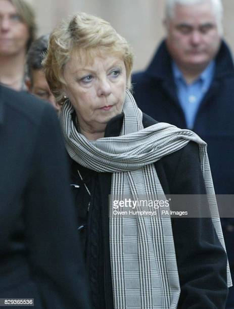 Cindy Eaton the mother of murdered policeman Ian Broadhurst arrives at Newcastle Crown Court where David Bieber is on trial accused of murdering...