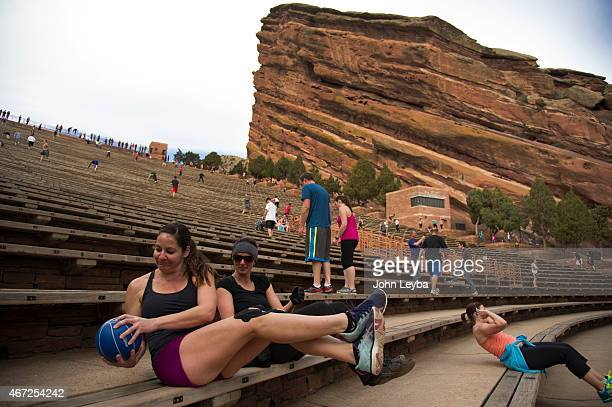 Cindy Goldman and Tamara Lenherr work out March 22 2015 at Red Rocks Amphitheatre Red Rocks is a popular venue for the workout enthusiast