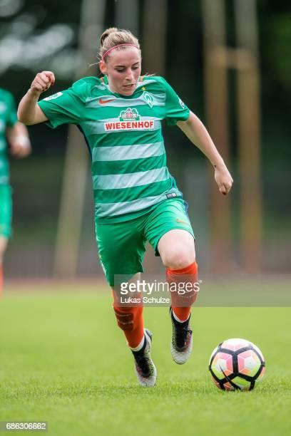Cindy Koenig of Bremen in action during the Second Bundesliga Nord match between Werder Bremen and VfL Wolfsburg II on May 21 2017 in Bremen Germany