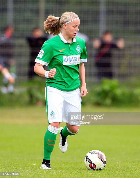 Cindy Koenig of Bremen plays the ball during the Women's 2nd Bundesliga match between SV Werder Bremen and BV Cloppenburg on May 25 2015 at Stadion...