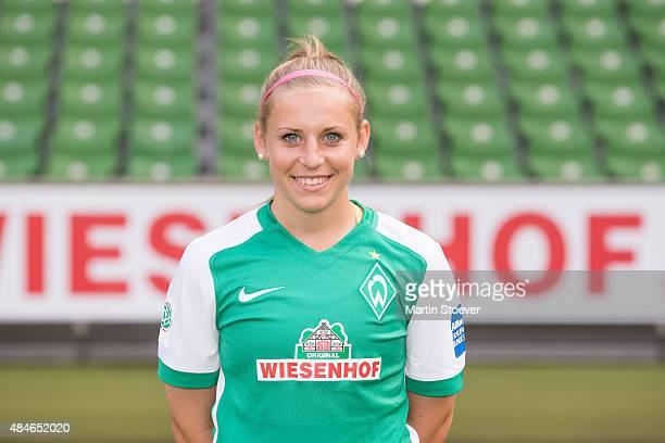 Cindy Koenig poses during the official team presentation of Werder Bremen women's at Weserstadion on August 20 2015 in Bremen Germany