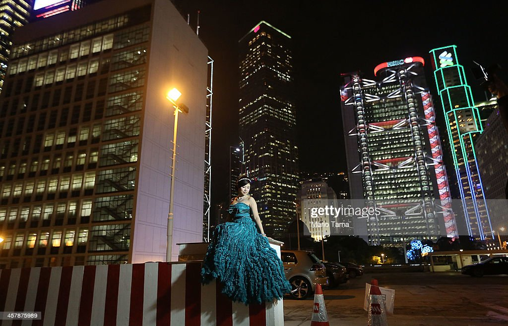 Cindy Lai poses for her wedding photographer on December 19, 2013 in Hong Kong, China. Hong Kong leads the world in economic freedom according to the Heritage Foundation.