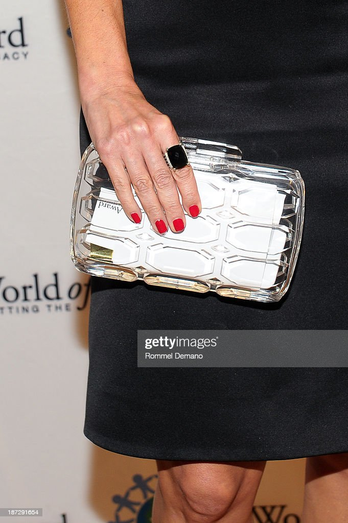 Cindy Leive (bag detail) attends the 16th annual World Of Children awards at 583 Park Avenue on November 7, 2013 in New York City.