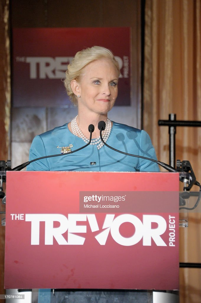 <a gi-track='captionPersonalityLinkClicked' href=/galleries/search?phrase=Cindy+McCain&family=editorial&specificpeople=125136 ng-click='$event.stopPropagation()'>Cindy McCain</a> speaks on stage at The Trevor Project's 2013 'TrevorLIVE' Event Honoring Cindy Hensley McCain at Chelsea Piers on June 17, 2013 in New York City.