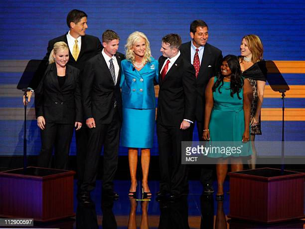 Cindy McCain stands on stage with her children Meghan Andy Jimmy Cindy Jack Doug Bridget and Sidney during the Republican National Convention at the...
