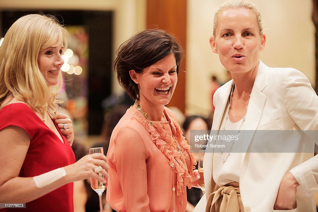Cindy McMackinstand (left to right), Laura Livingston and Karin Gregersen stand together before a Chloe And Van Cleef & Arpels Fashion Show at South Coast Plaza on April 20, 2011 in Costa Mesa, California.