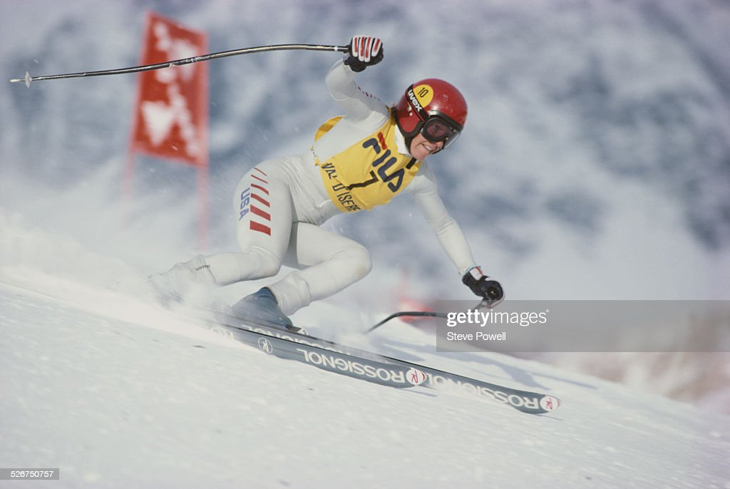 Cindy Nelson of the United States during the International Ski Federation Women's Combined at the Alpine Skiing World Cup event on 4 December 1980 in...