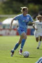 Cindy Parlow of the Washington Freedom dribbles the ball during the Founders Cup Championship Match against the Atlanta Beat on August 24 2003 at...