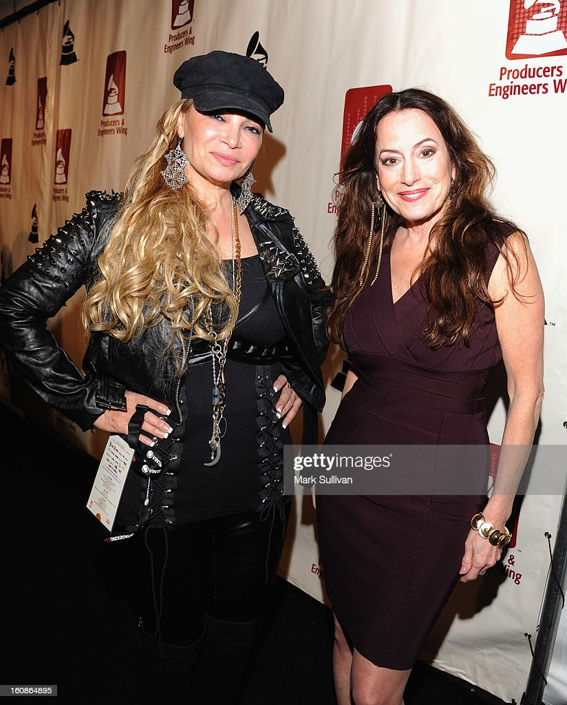 Cindy Valentine (L) and Paula Salvatore attend The 55th Annual GRAMMY Awards - P&E Wing Event Honoring Quincy Jones And Al Schmitt held at The Village on February 6, 2013 in West Los Angeles, California.
