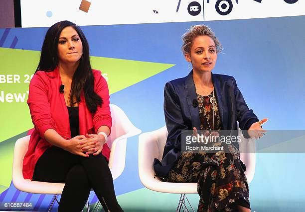 Cindy Whitehead and Nicole Richie speak onstage at Breaking the Mold at Thomson Reuters during 2016 Advertising Week New York on September 26 2016 in...