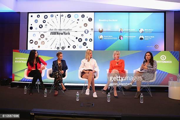 Cindy Whitehead Nicole Richie Misha Nonoo Allie Kline Farnoosh Tarobi speak onstage at Breaking the Mold at Thomson Reuters during 2016 Advertising...