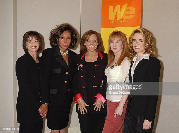 Cindy Williams Diahann Carroll Valerie Harper Kathy Griffin and Lea Thompson posing together for 'TV The Single Girl' a documentary featuring the...