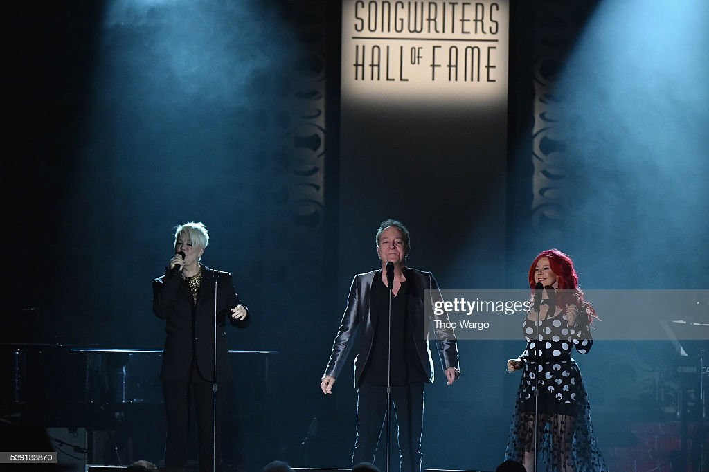 Cindy Wilson Fred Schneider and Kate Pierson perform onstage during the Songwriters Hall Of Fame 47th Annual Induction And Awards at Marriott Marquis...