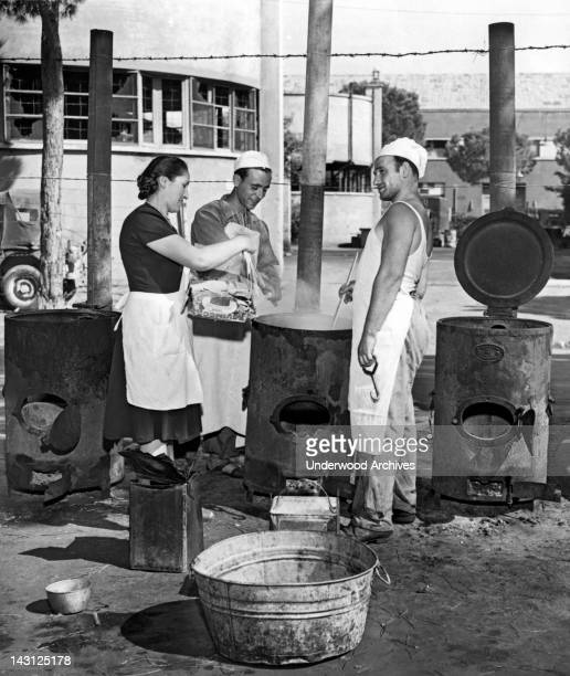 Cinecitta the fabulous movie making center built by Mussolini now serves as a refugee camp in post war Italy Rome Italy August 23 1947 Here the cooks...