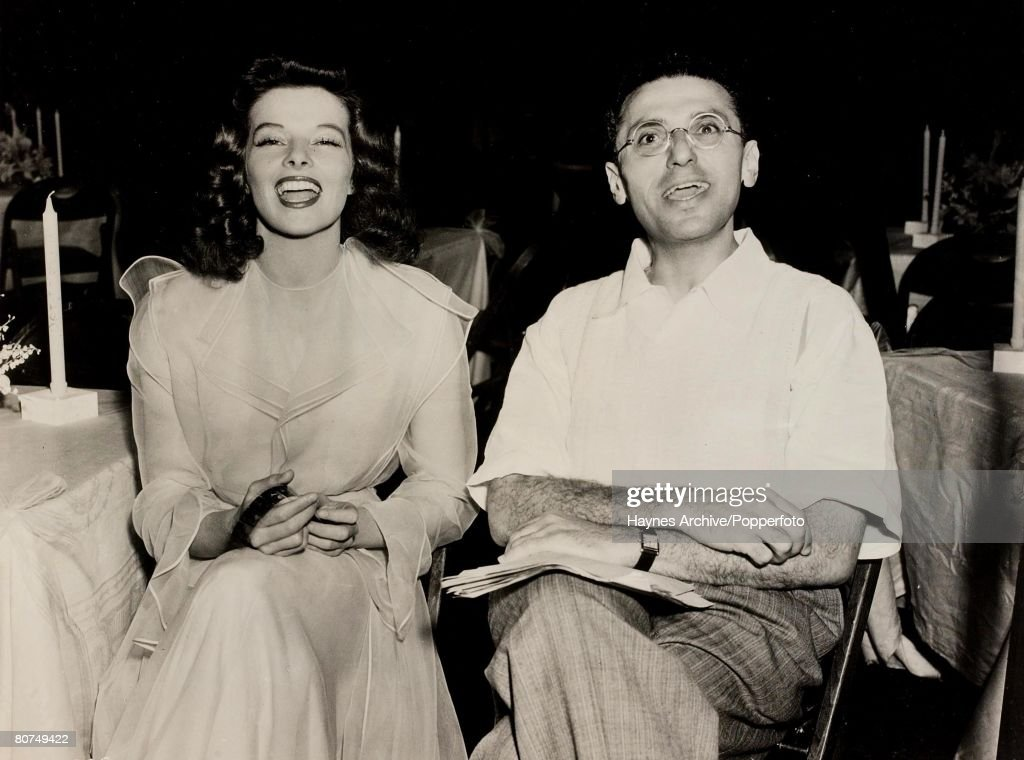 Cinema, American film actress Katherine Hepburn and Director George Cukor pictured in Hollywood by fellow film actor James Stewart, 1941