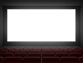cinema hall white screen.3d rendering