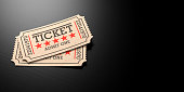 Movie theater concept. Cinema old type tickets beige isolated on a black wooden background, with copy space, 3d illustration.