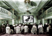 Cinema on a passenger ship about 1930 Colourized photo