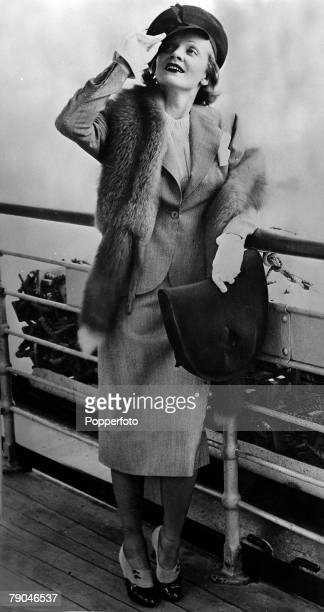 1938 German born American actress and cabaret performer Marlene Dietrich is pictured arriving in Plymouth for a 6 month stay in Europe which she...