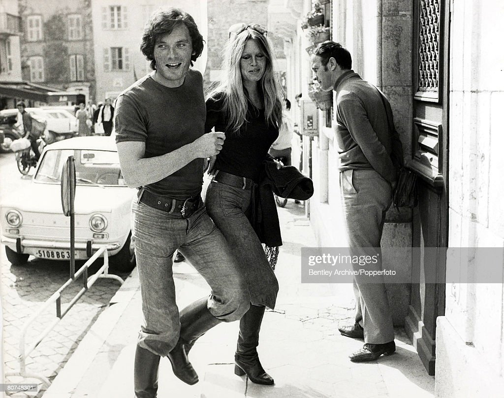 12th April 1971 French actress Brigitte Bardot pictured with her boyfriend Christian Kalt at StTropez Town Hall to report the theft of her car...