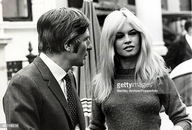 12th September1966 French film actress Brigitte Bardot pictured with her 3rd husband Gunther Sachs in London during a break from filming Brigitte...