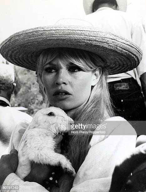 18th September1965 French film actress Brigitte Bardot cuddles a white rabbit in a break from filming'Viva Maria' Brigitte Bardot first appeared on...