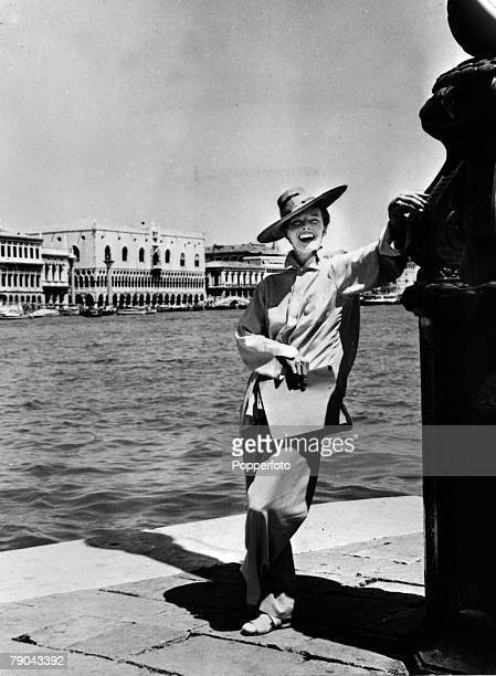 1954 American film actress Katharine Hepburn is pictured while on holiday in Venice Italy close to the time she was making the film 'Summertime' in...