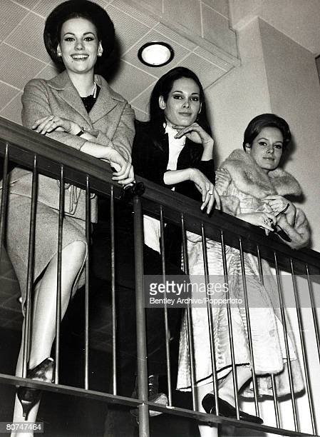 22nd March 1965 Members of the cast of the new James Bond film 'Thunderball' LR Claudine Auger Martine Beswick and Luciana Paluzzi leave London...