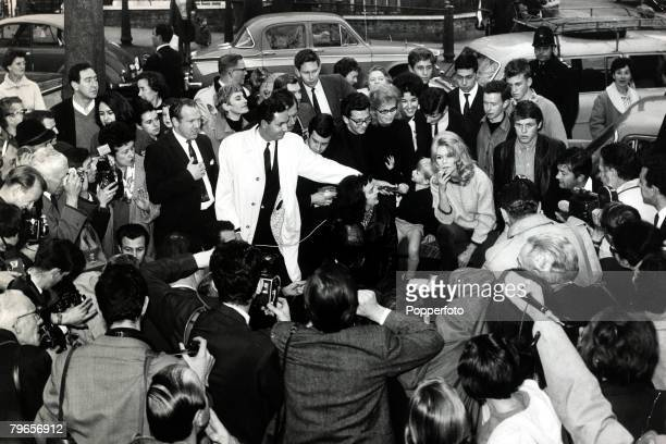 25th October 1963 French film actress Brigitte Bardot pictured in Hampstead London where fans and media rush to meet her Disorderly crowds caused the...