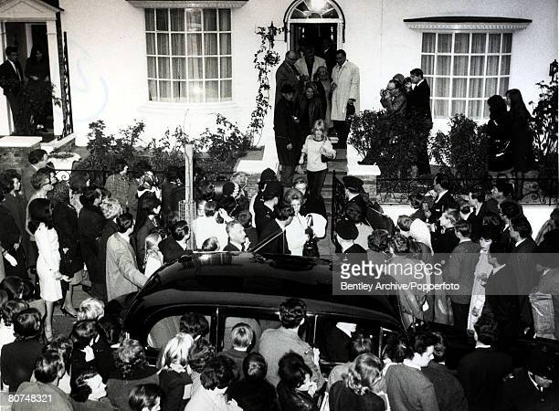 27th October 1963 French film actress Brigitte Bardot pictured in Hampstead London leaving a house Disorderly crowds caused the film 'Adorable Idiot'...